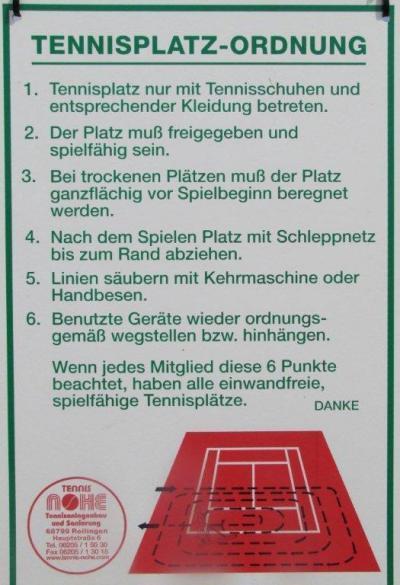 Tennisplatzordnung